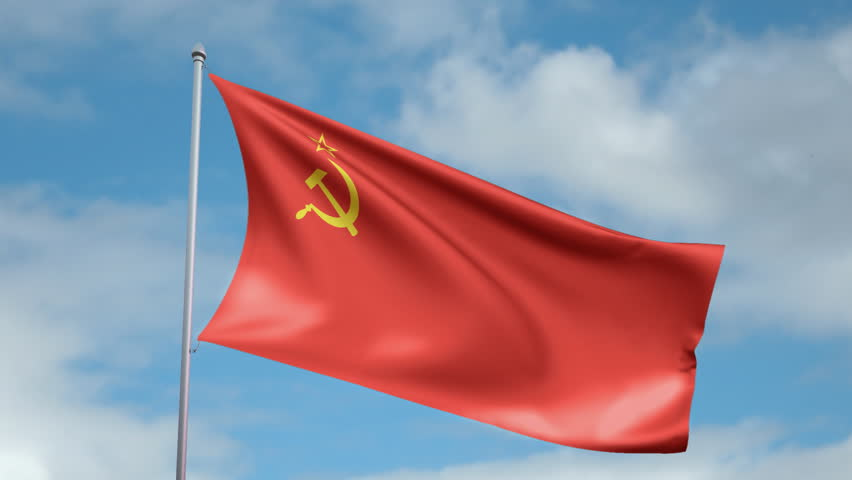 HD 1080p clip of a slow motion waving flag of the Soviet Union. Seamless, 12 seconds long loop.
