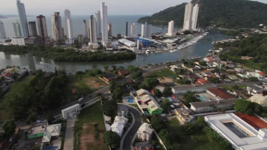 Aerial view of Balneario Camboriu city big city buildings ocean sea Brazil