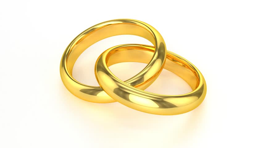 Realistic Golden Wedding Rings Hd Stock Video Clip
