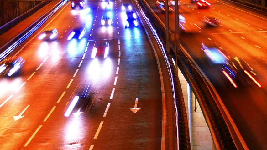 Night city traffic, time-lapse. | Shutterstock HD Video #4407308