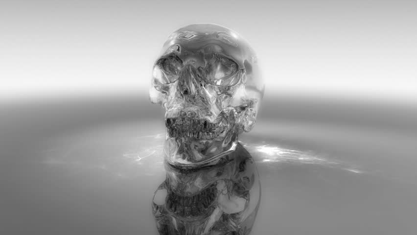 3d photorealistic crystal skull appearing. Animated index of refraction. Caustic effects. | Shutterstock HD Video #443098