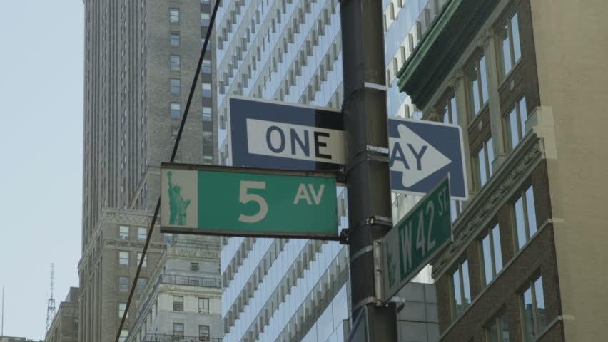 New York City 5th Avenue signpost. Location: New York City, United States