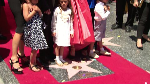 HOLLYWOOD - June 20, 2013: Jennifer Lopez and family at the Jennifer Lopez Star on the Hollywood Walk of Fame in the Hollywood Blvd. in Hollywood June 20, 2013