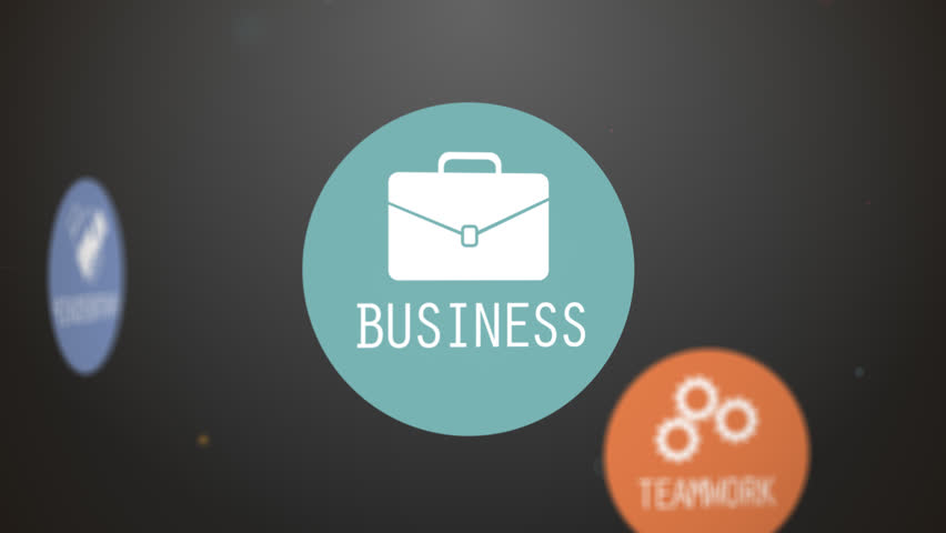 Animation presents various terms realted to business. May represent conceptual company performance. Colorful vector images on a dark backgound.