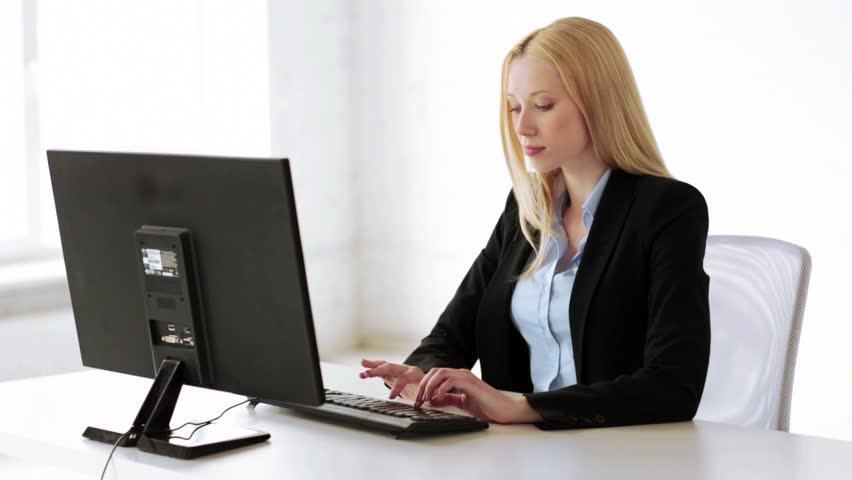attractive business woman working with stock footage video