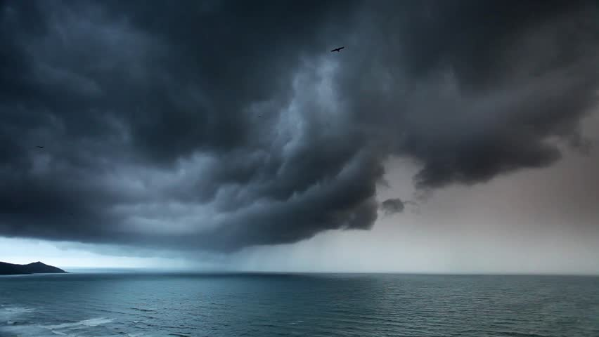 Amazing storm in a menacing sky scape, rain clouds and thunderstorm over sea - Cornwall, UK - HD