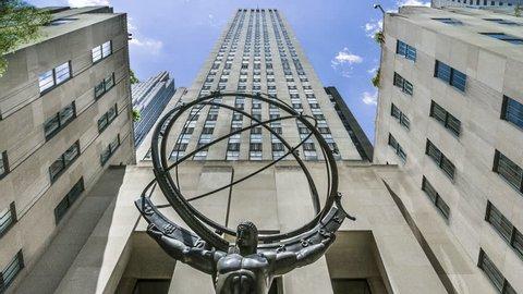 NEW YORK - DECEMBER 6: Atlas Statue and Rockefeller Center on December 6, 2012 in New York. The Atlas Statue is a bronze statue in front of Rockefeller Center in midtown Manhattan, New York City.