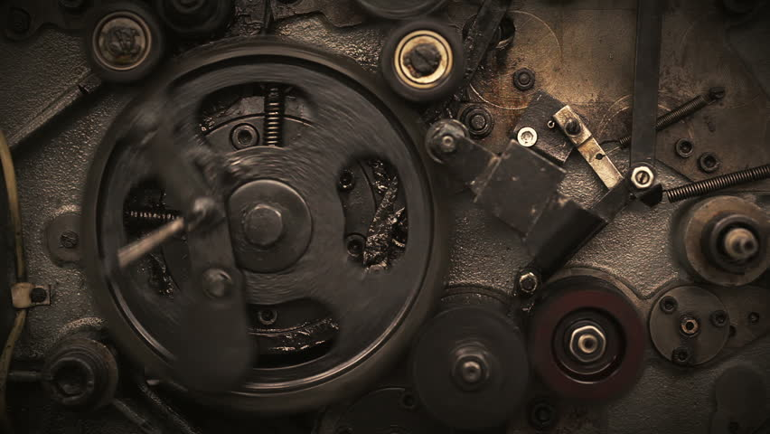 Close-up of rotating gears