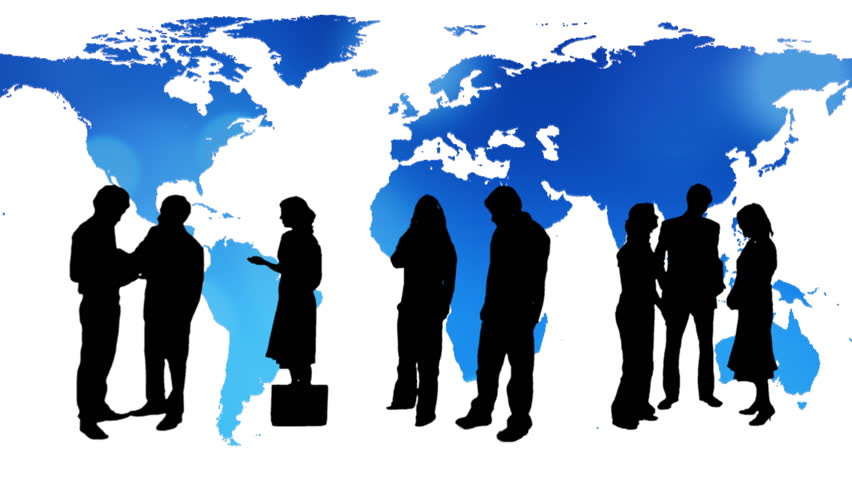 Business people silhouettes with a blue map of the Earth in the background | Shutterstock HD Video #4509107