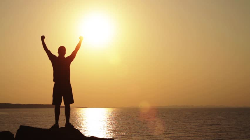 Success Pose Sunset Cliff Traveler Hands Up Concept HD | Shutterstock HD Video #4540688