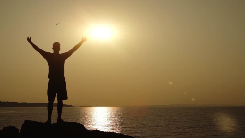 New Beginning Vacation Sunset Sea Mountain Man Silhouette | Shutterstock HD Video #4540718