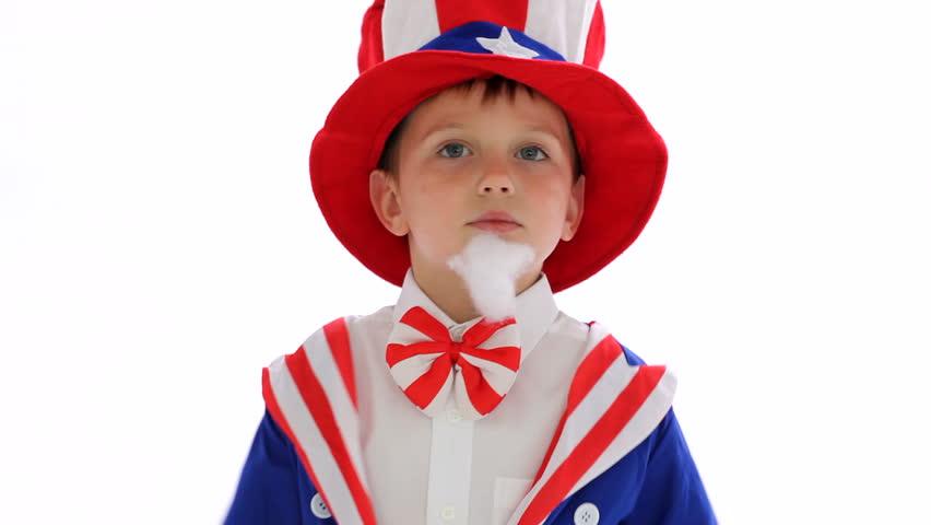 Boy dressed like Uncle Sam
