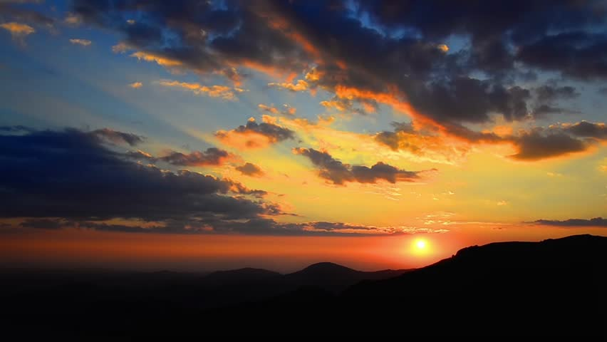 Amazing colorful timelapse sunset over Macedonia mountain chain. Time lapse sky