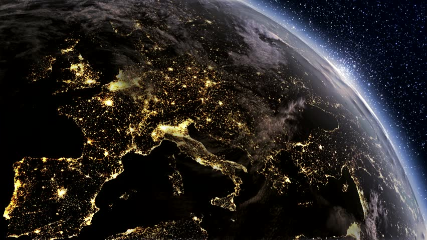 Highly detailed. 3d Render using satellite imagery (NASA).  Planet earth Europe zone with night time and sunrise from space. | Shutterstock HD Video #4576922
