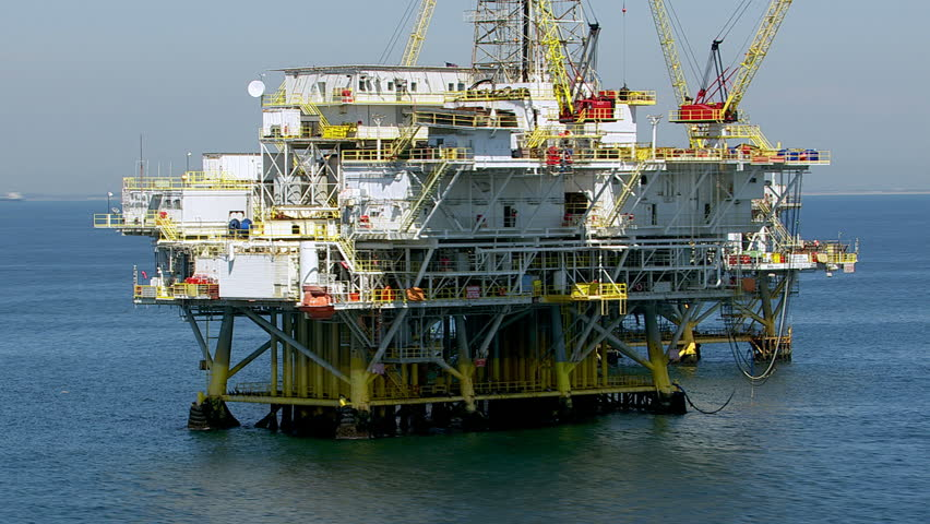 Aerial shot of off shore oil platforms