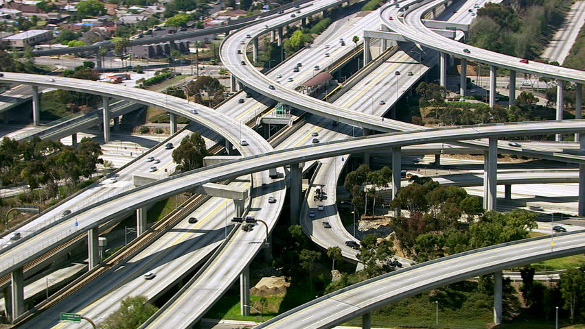 Aerial view of Los Angeles freeway intersection