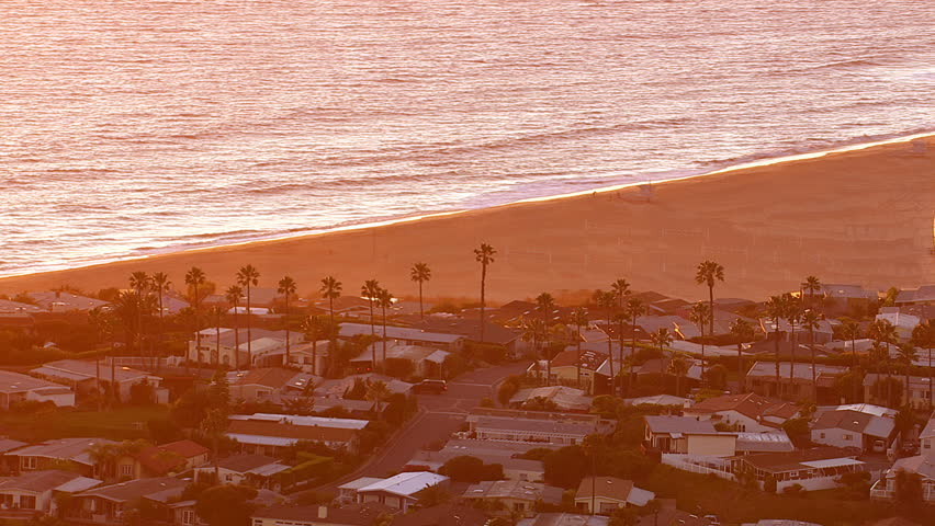 Aerial shot of Malibu, California at sunset