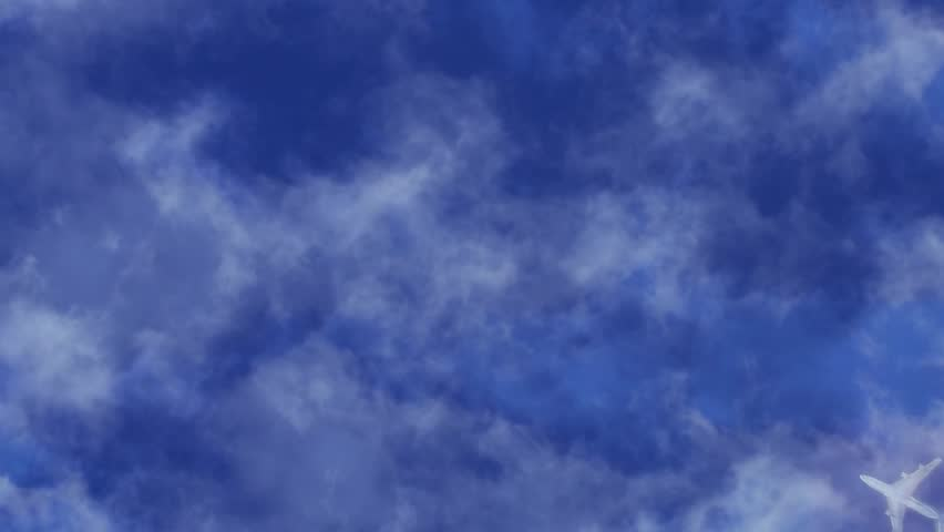 Flying Airplane. Airplane Look from below to plane fly fast over the clouds from
