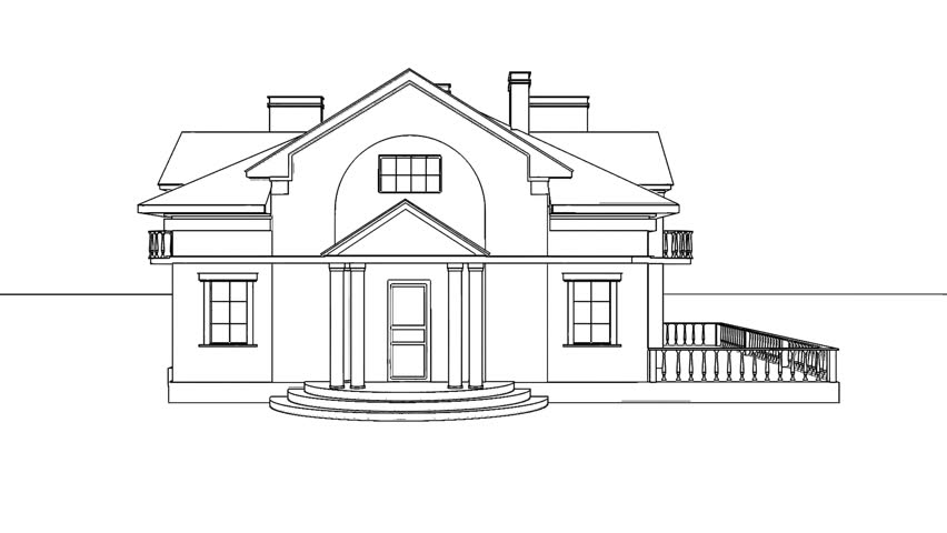 Hand Drawing Architecture Sketch Of The House Stock