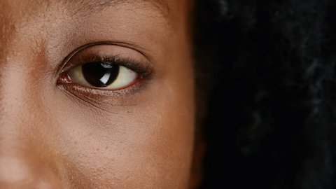 close up african woman eye character series isolated on pure white background