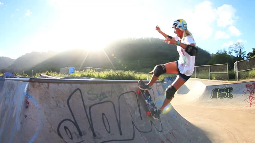 Blonde Girl Skateboarding (Slow Motion)  | Shutterstock Video #4624442