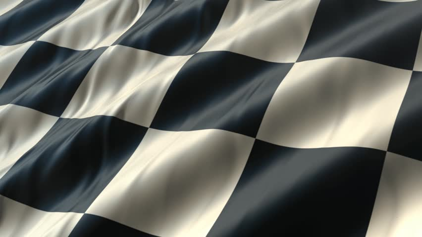 Checkered flag waving in the wind. Photo-realistic computer animation.