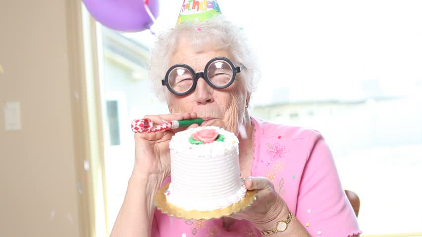 Portrait of senior woman on her birthday