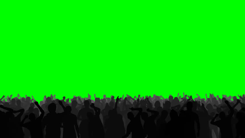 Concert crowd dancing energetically, on an easily keyed green background. #4645328