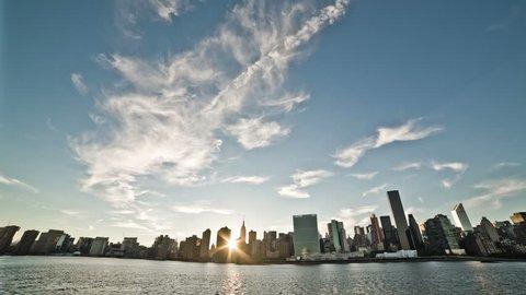 NEW YORK - SEPTEMBER 9: Manhattan landmark skyscrapers on September 9, 2013 in New York. Manhattan is New York City's smallest yet most populous of its five boroughs.
