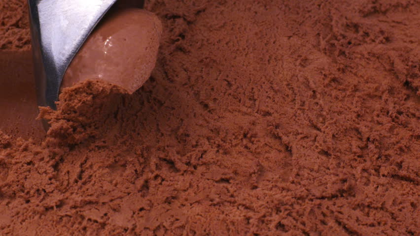 Close up of chocolate ice cream being scooped
