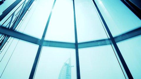 Modern design elevator going down from the sky. Burj al Arab, Dubai