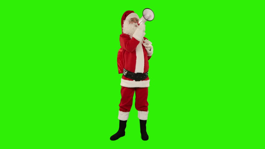Santa Claus with a loudspeaker making an announcement, front view, Green Screen #4669508