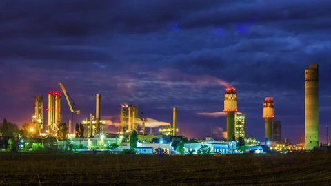 Night view of a plant for the ammonia production timelapse