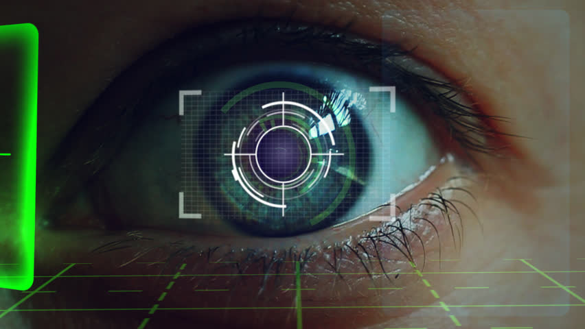 Eye close up with futuristic electonical display