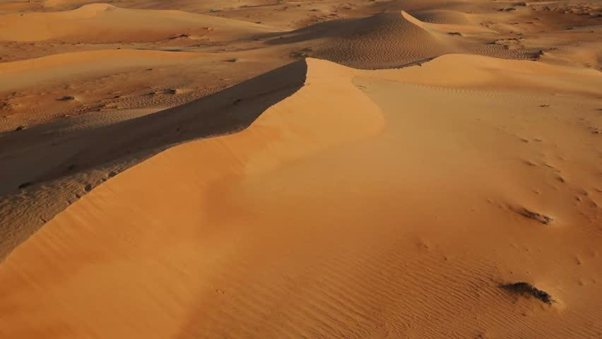 Flying over sand dunes, Aerial, Arabian Dessert, Dubai, UAE #4750601