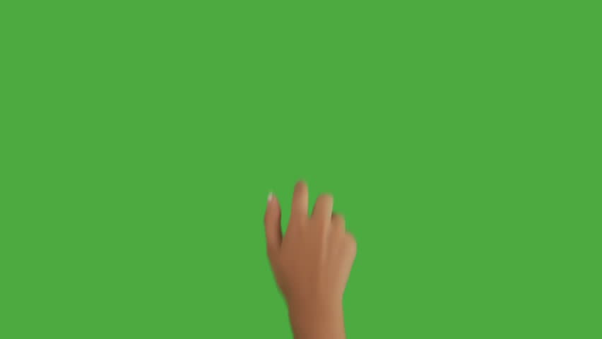 Isolated shot of a female hand on a green screen doing touch screen gestures, double tap