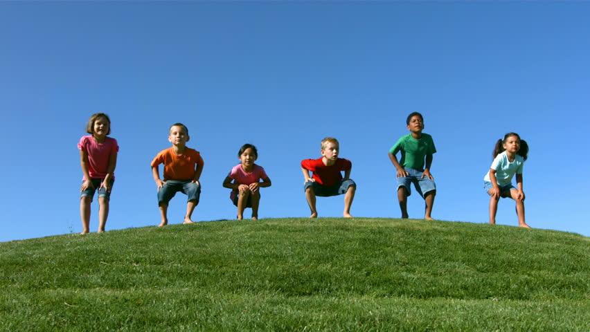 Slow motion kids jumping