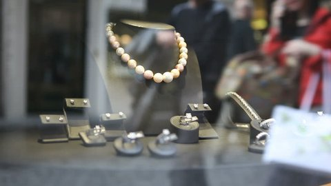 Jewellery on store display