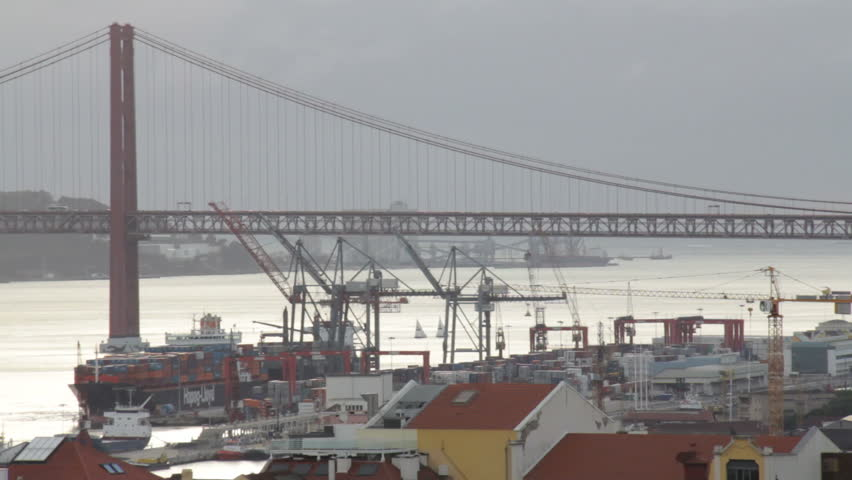 Lisbon city view with Tagus river and bridge 3