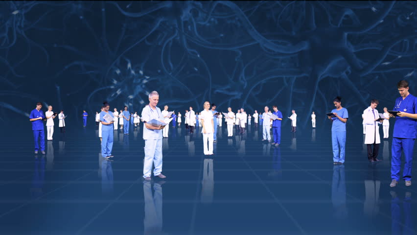 CG montage fly through medical male and female multi ethnic team keeping records blue neuron background | Shutterstock HD Video #4806848