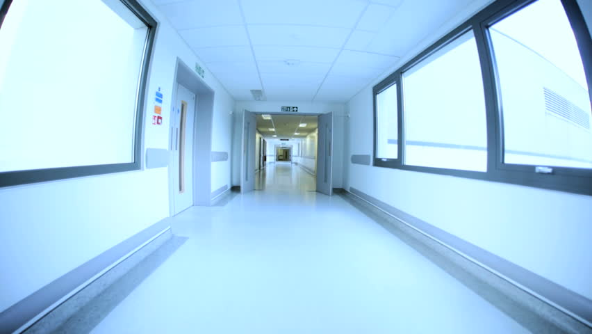 Bright airy corridors modern medical health clinic wide angle view no people