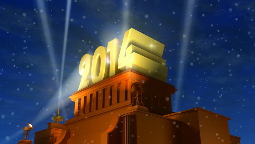 Creative New Year 2014 celebration concept: shiny golden 2014 text on pedestal at night with snow in cinema style | Shutterstock HD Video #4819748
