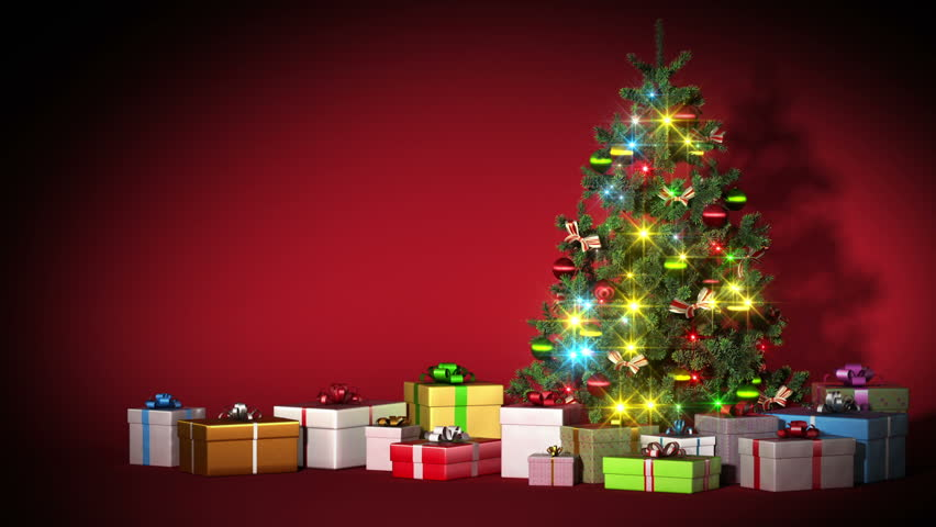 Beautiful Christmas Tree With Gifts Stock Footage Video 100