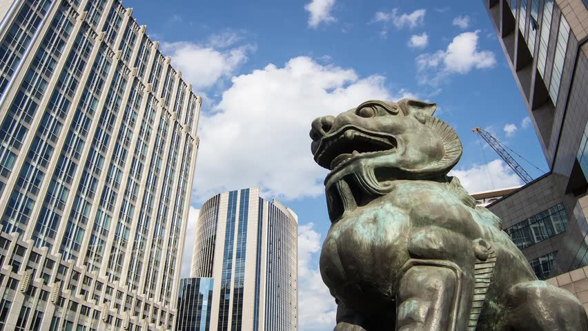 The bronze lion sculpture in Beijing Financial Street,Beijing,China