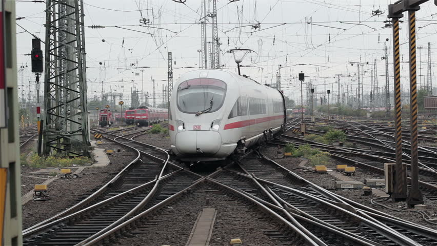 FRANKFURT, GERMANY - OCTOBER 12: A German highspeed ICE train is arriving at main station Frankfurt on October 12, 2013