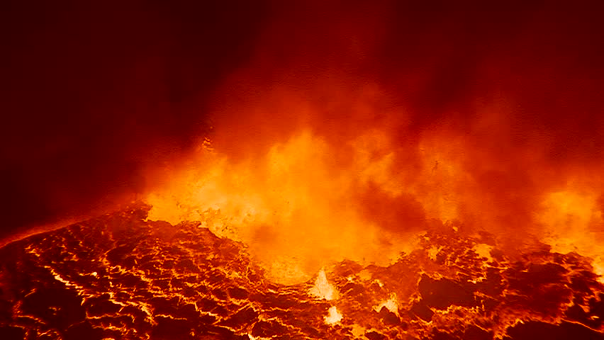 The spectacular Nyiragongo volcano erupts at night in the Democratic Republic of Congo suggests the fire of hell. #4875818
