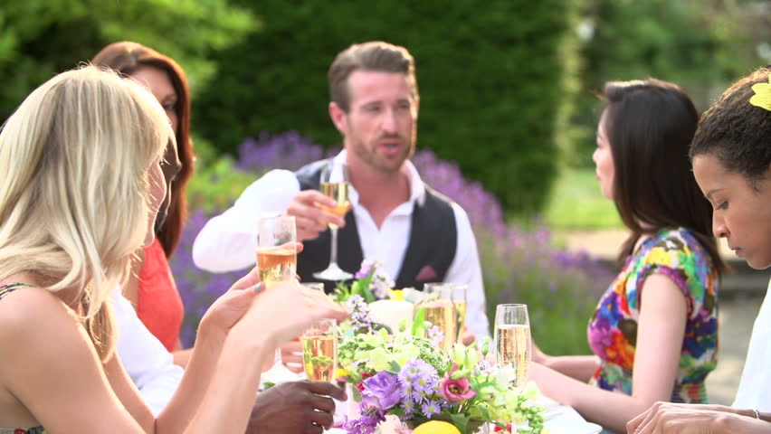 Dinner Party Video Part - 26: Friends Proposing Toast At Formal Outdoor Summer Dinner Party Slow Motion -  HD Stock Footage Clip