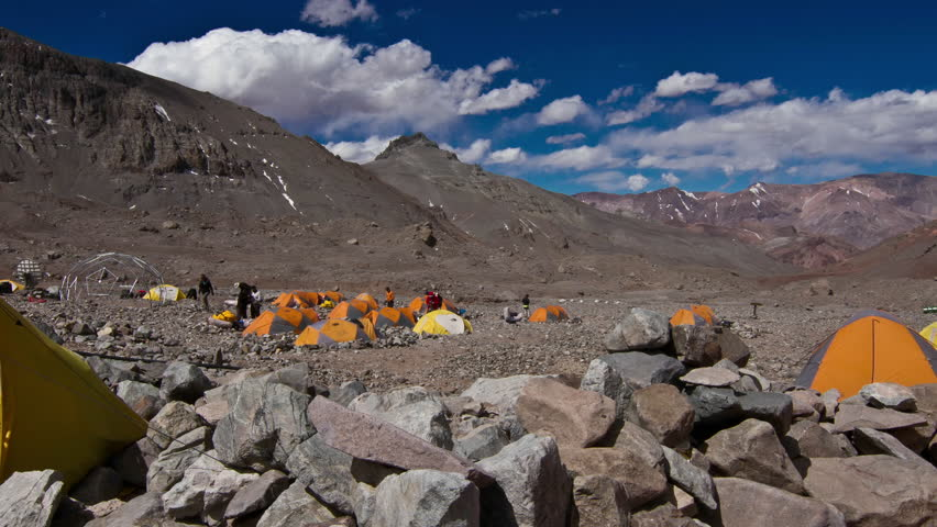 Aconcagua Time Lapse Plaza Argentina with tents