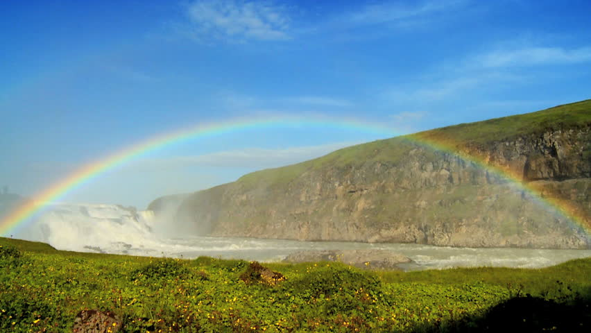 Rainbow over Gulfoss waterfall,Iceland 60 FPS
