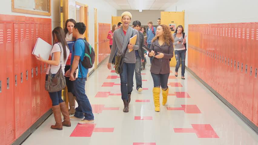 Stock video of an empty school hallway fills up | 4893668 ...